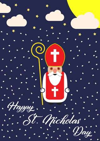 Cute cartoon greeting card with Saint Nicholas character