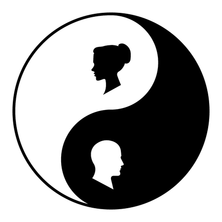 Yin yang symbol of harmony and balance between male and female. Illustration