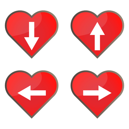 Set of glossy heart button icons for your design.