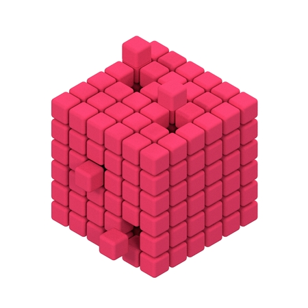 Three Dimensional Cube Render on white background . Stock Photo