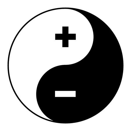 Yin yang symbol of harmony and balance plus minus. Illustration