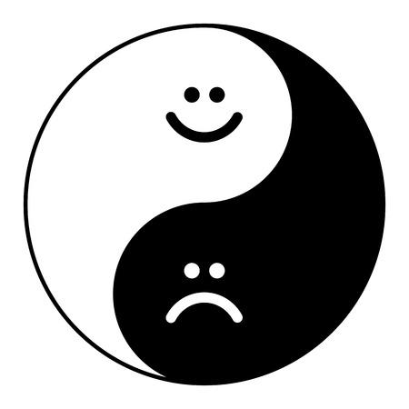 調和とバランスの幸せ、悲しい笑顔の陰陽のシンボル。