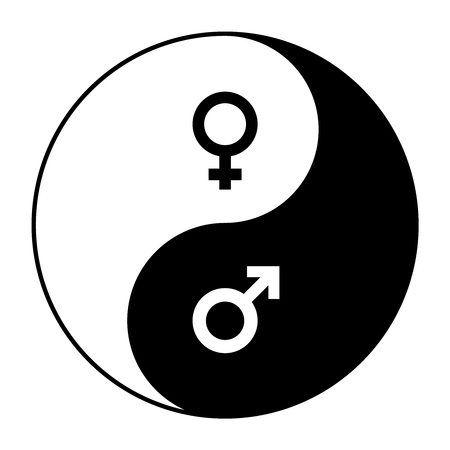Yin yang symbol of harmony and balance between male and female gender.