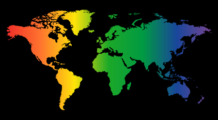 Colorful world map isolated on black background. World vector illustration. 矢量图像