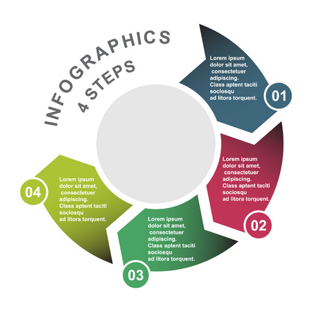 4 step vector element in four colors with labels, infographic diagram. Business concept of 4 steps or options.