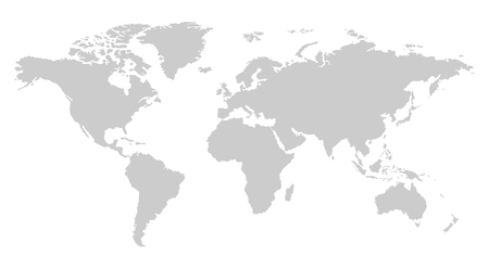 One color grey world map isolated on transparent background. World vector illustration.