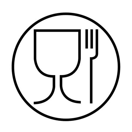 Lebensmittelsicheres Symbol. Das internationale Symbol für lebensmittelechtes Material sind ein Weinglas und ein Gabelsymbol. Schlanke Version in rund .
