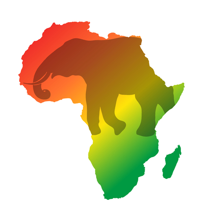 Colorful Africa map isolated on transparently background. World vector illustration without text.  イラスト・ベクター素材