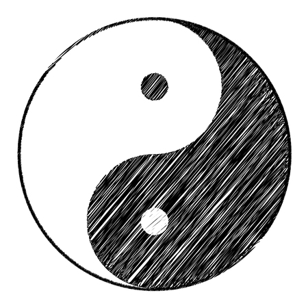 Yin yang symbol of harmony and balance with Scribble effect . Illustration