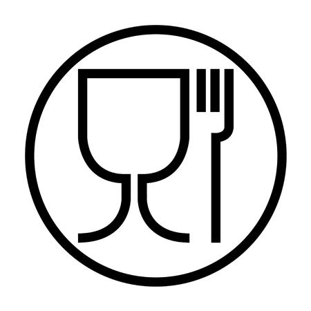 Simbolo di cibo sicuro . L & # 39 ; icona internazionale per i prodotti alimentari sicuri è un bicchiere di vino e una forchetta di cipolla grande icona in tondo .