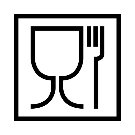 Food safe symbol. The international icon for food safe material are a wine glass and a fork symbol. Large version in cube .