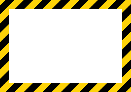 Yellow and black stripes on the diagonal, rectangular warning sign, symbol, illustration .