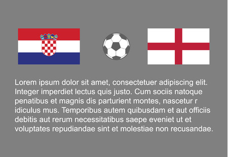 Football - soccer background happy man keep flag, vector stackman croatia vs england semi final 1/2 . 矢量图像