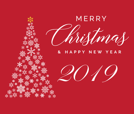 Merry Christmas And Happy New Year 2019 Lettering Template. Greeting ...