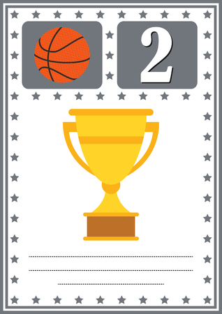 Modern basketball certificate with place for your content, for kids second place . Illustration