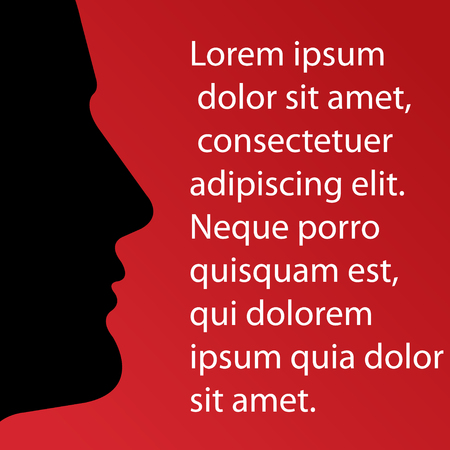 Black male profile silhouette speaking letters red gradient background .