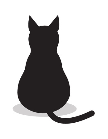 Black isolated cat, icon vector. Illustration background sign animal .