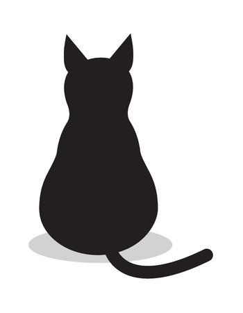 Gato negro aislado, vector icono. Ilustración de fondo signo animal.