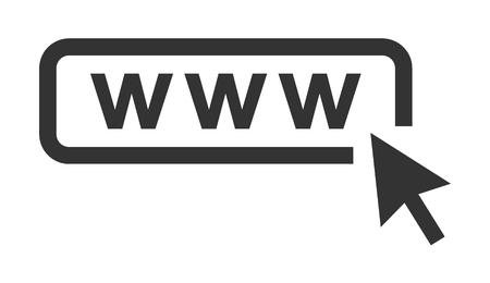 Web vector icon with arrow. Website icon with cursor on move . Vektoros illusztráció