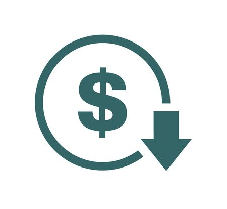 Reducción de costos: icono de disminución. Imagen del símbolo del vector aislada en el fondo. Ilustración de vector
