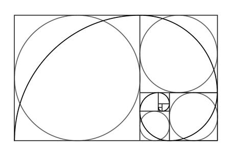 Design im minimalistischen Stil. Goldener Schnitt. Geometrische Formen. Kreise im goldenen Verhältnis. Futuristisches Design. Vektorgrafik