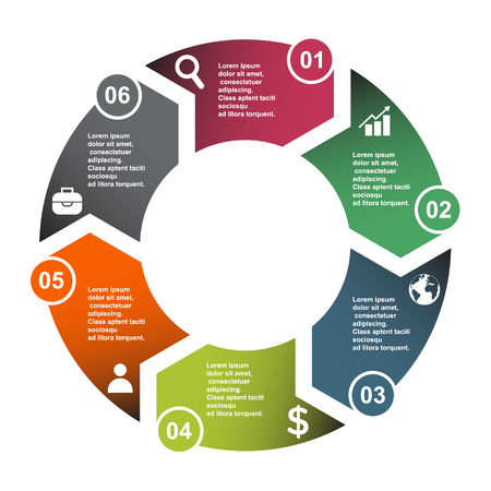 6 step vector element in six colors with labels, infographic diagram. Business concept of 6 steps or options with empty .