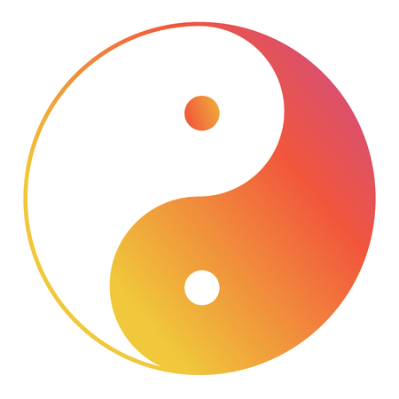 Yin yang symbol of harmony and balance with water color effect .