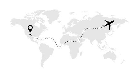 Icona di vettore della linea dell'aeroplano della rotta di volo dell'aereo con punto di partenza e traccia della linea.