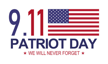 Patriot day 9.11 . Memorial day, We will never forget. White background . Illustration