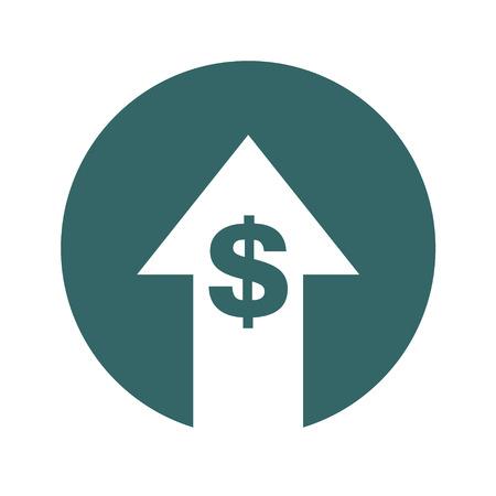 Icono de aumento de símbolo de costo. Imagen del símbolo del vector aislada en el fondo.