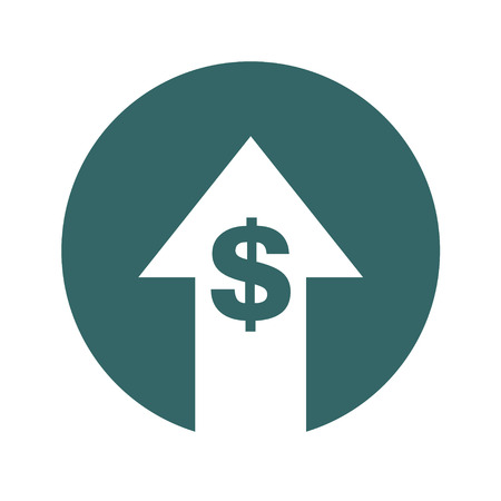 Cost symbol increase icon. Vector symbol image isolated on background .
