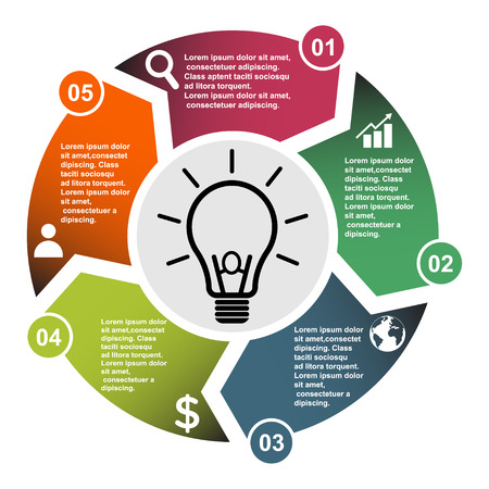 5 step vector element in five colors with labels, infographic diagram. Business concept of 5 steps or options with bulb .