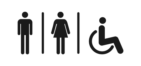 Male and female toilet icon vector, filled flat sign, solid pictogram isolated. WC symbol, icon illustration . Ilustração
