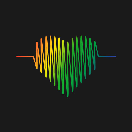 Heart cardiogram icon vector. Heart color symbol. Vector illustration .