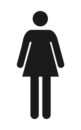 female toilet icon vector, filled flat sign, solid pictogram isolated.
