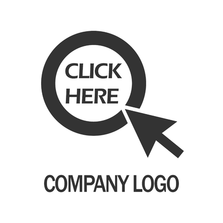 click here with arrow company  design template, Business illustration vector icon .