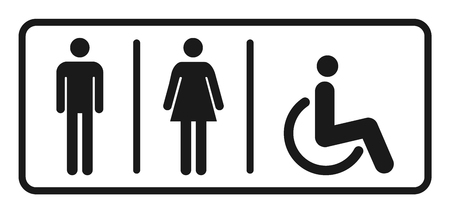 Male and female toilet icon vector, filled flat sign, solid pictogram isolated. Ilustração