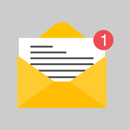 Design mail or e-mail of flat icon, Vector on isolated background . Ilustrace