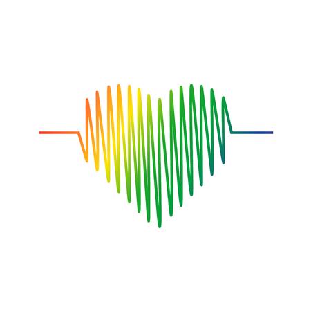 Vector de icono de cardiograma de corazón. Símbolo del color del corazón. Ilustración vectorial.