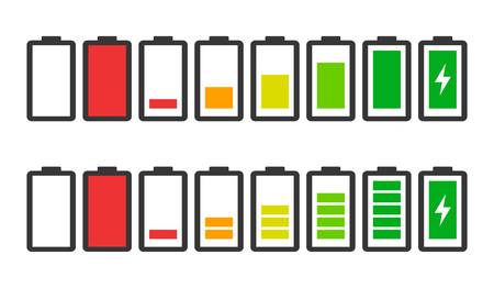 Battery charge indicator icons in vector modern graphics set . Zdjęcie Seryjne - 111125058