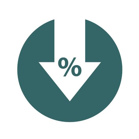 Percentuale giù icona linea. Percentuale, freccia, riduzione. Concetto bancario. Vettoriali