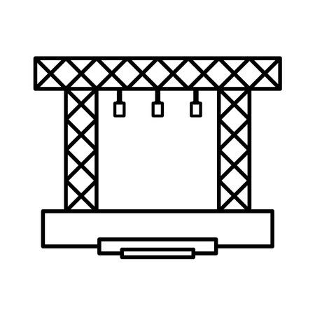 Icono de construcciones de vector de etapa. Concierto línea de escena moderna.