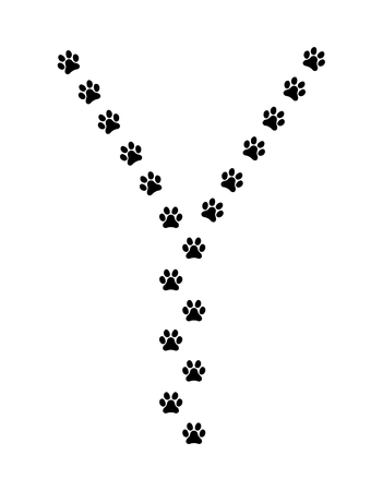 Paw vector  foot trail print of cat. Dog, silhouette animal diagonal track .