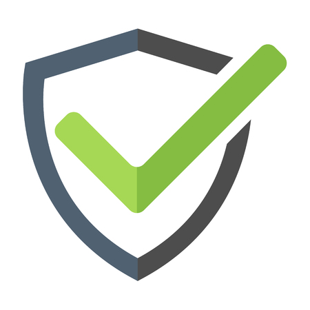 Modern shield icon, mark approved , protect, safe vector symbol .
