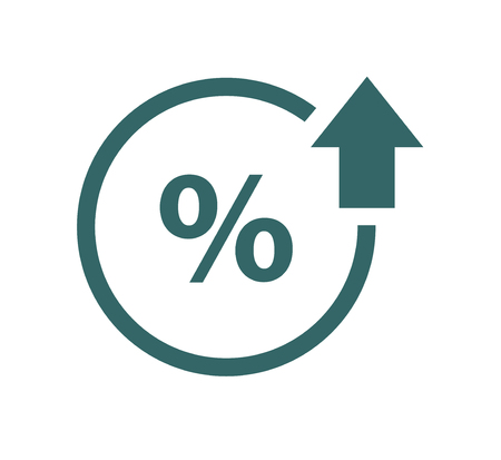 Percent up line icon. Percentage, arrow, reduction. Banking concept . Vecteurs
