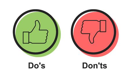 Bulle de vecteur d'icône de discours Dos et Don'ts ou symboles comme/contrairement, conception graphique de logotype simple plat. Logo