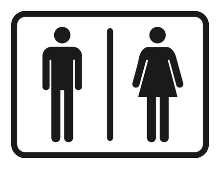 Männlicher und weiblicher Toilettenikonenvektor, gefülltes flaches Zeichen, festes Piktogramm lokalisiert. WC-Symbol, Logoillustration.
