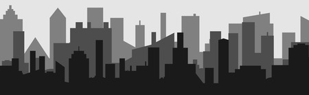 Silhouette of the cartoon city on shadow backgound. Urban vector symbol .