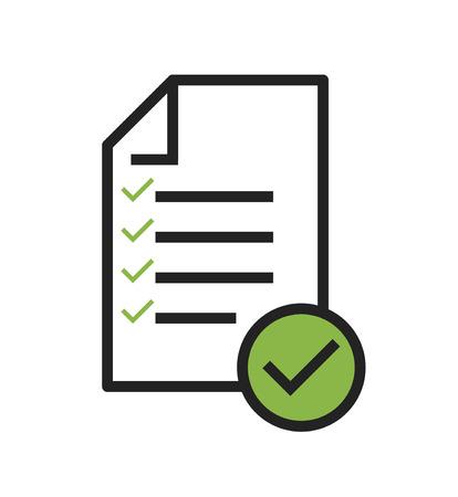 En el vector de icono de cumplimiento que muestra que una empresa pasó la inspección.