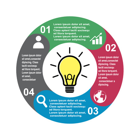 4 step vector element in four colors with labels, infographic diagram. Business concept of 4 steps or options with light bulb . Ilustración de vector